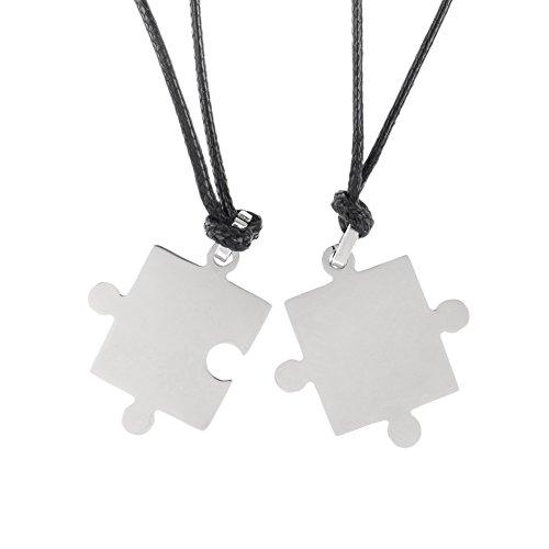 VAGA - Juego de 2 collares a juego con accesorios de acero inoxidable de color plateado y elementos de rompecabezas en cuerdas negras