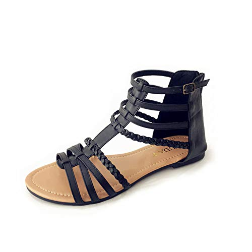 MUDAN Womens Buckle Zip Thong Gladiator Sandal (8 B(M) US, Black)