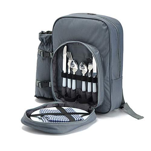 LSGMC Grau Picknickrucksack für 2 Personen, Korb mit Kühltasche, inkl. Geschirr und Fleece-Decke.