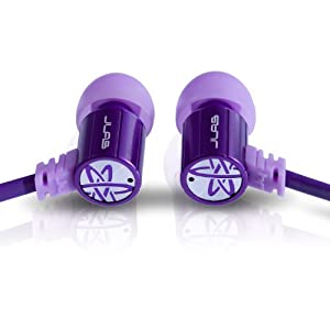 JLab Audio J4 Heavy Bass, Rugged Metal in-Ear Headphone, Guaranteed for Life - Pirple
