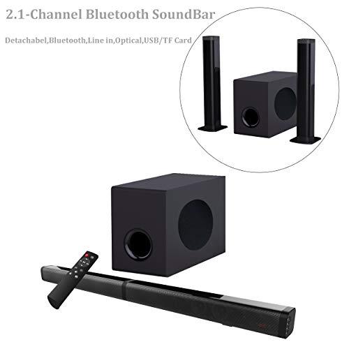 Samtronic Detachable Soundbar for TVS 37 Inch 80W 2.1 Channel Soundbar Speakers Wireless & Wired Bluetooth 5.0 Sound Bars