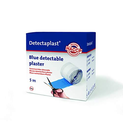 Detectaplast Pflaster wasserfest Elastic, blaue Wundpflaster Rolle für den Umgang mit Lebensmitteln, detektierbare Pflaster für Erste Hilfe Sets in der Gastronomie, 8 cm x 5 m, 1 Stück,