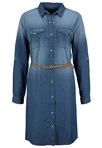 Sublevel Damen Jeans Hemdblusen-Kleid mit Flecht-Gürtel Blue M