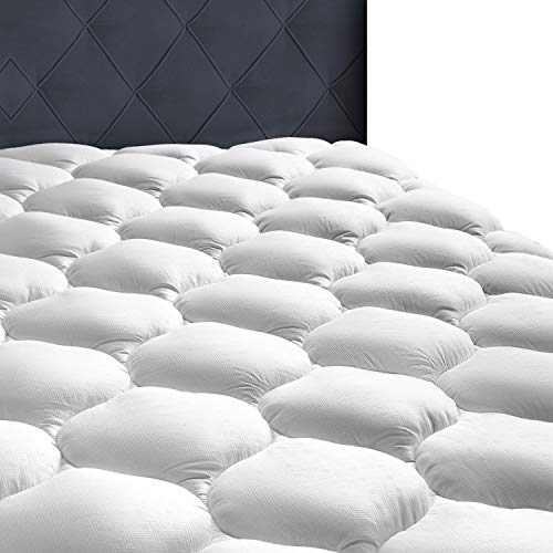 "MASVIS Quilted Mattress Pad Cover 8-21""Deep Pocket - Mattress Topper Protector Overfilled 300TC Snow Down Alternative 150x200cm (King)"