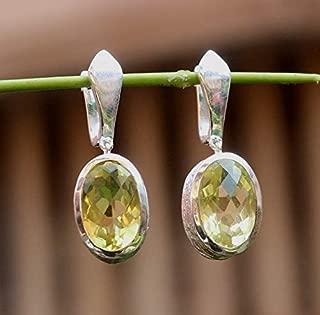 Lemon Quartz Gemstone English Russian Lock Handmade Earring,Solid 925 Sterling Silver Jewelry,Daily Wear Gift Drop Earring