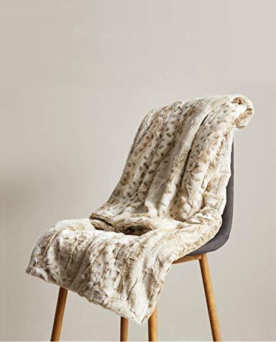 Manta de Felpa Suave cálida Elegante Manta con Estampado de Leopardo decoración para niña Regalo Funda de sofá de Invierno Cama sofá colcha-130x160 cm (51x63 Pulgadas)