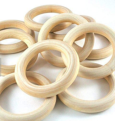 PEPPERLONELY Brand, 20 Natural Wood Rings 2-2/8' (56mm)