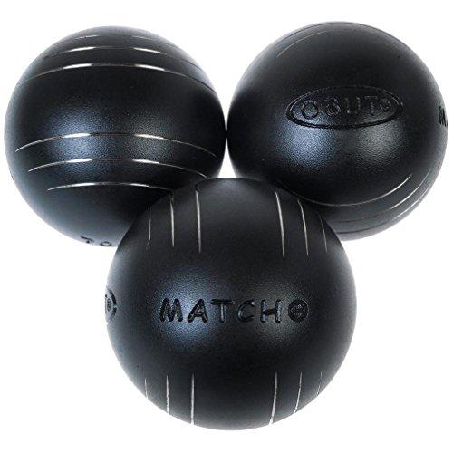 Obut Match+ -Bolas de petanca (cromo, 74 mm), Negro , 690g