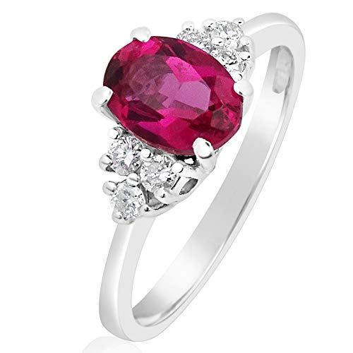 ️ Mille Amori anello donna–oro bianco 9Kt 375/1000–diamanti 0.15carati–rubino sintetico 0.8carati 7x 5–Gems Collection