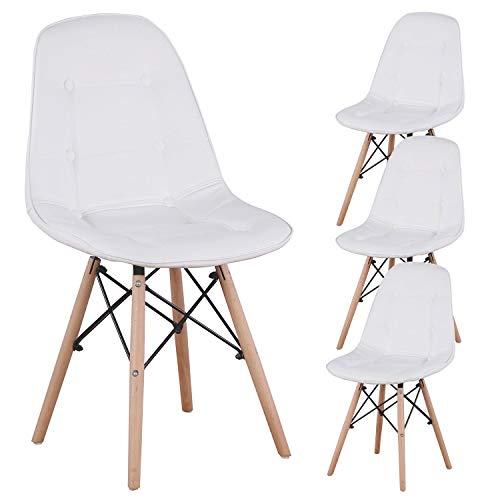 N A MUEBLES HOME - Juego de 4 sillas de comedor, tapizadas, de piel sintética, capitoné, con botones, sillas de estilo moderno, con patas de madera para comedor, dormitorio, sala de estar