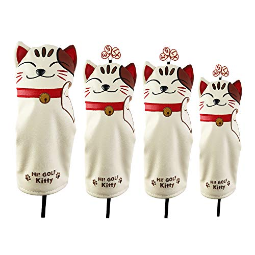 HELLO NRC Golf Headcovers Golf Driver Fairway Wood Hybrid Lucky cat Cartoon Animal Golf Putter Cover...