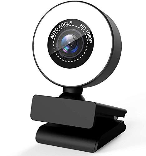 Webcam 1080P Full HD incorporado anillo de luz ajustable con Micrófono Estéreo,PC Cámara de Enfoque automático, Cámara de Video para Xbox Gamer Facebook YouTube Streamer