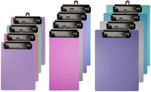 Pralb 12 PCS Mini Clipboard Pretty Cute Clipboard Memo Size Pocket Clip Boards Plastic Colorful product image