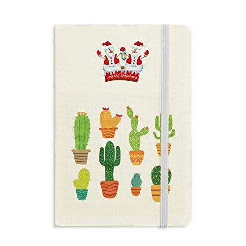 Topfpflanze Kaktus Sukkulenten Muster Weihnachten Schneemann Notizbuch Dickes Hardcover