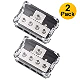 VonSom 4 Way Power Distribution Block, 1x 0/2/4 AWG Gauge in / 4X 4/8/10 Gauge Out Amp Power Distribution Ground Distributor Connecting Block for Car Amplifier Audio Splitter 2 Pack