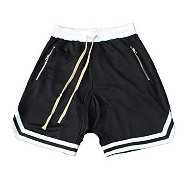 SUNSIOM Men's Basketball Shorts Gym & Running Elastic Waistband Short Pants(2-Black,3XL)