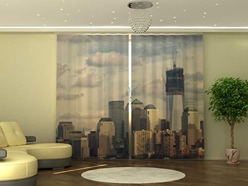 Wellmira - Tenda fotografica 245 x 290 cm, stampa fotografica argentata, opaca, stampa con foto, tenda con motivo