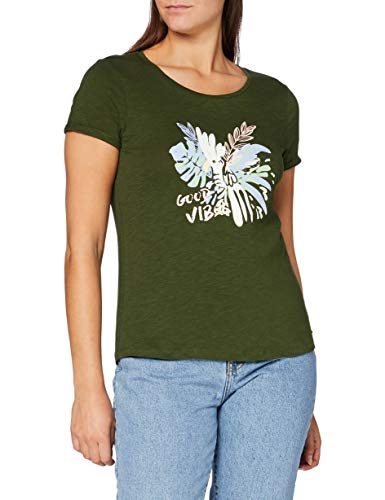 TOM TAILOR Denim Damen Basic Good Vibes T-Shirt, 11332-Dusty Rifle Green, L