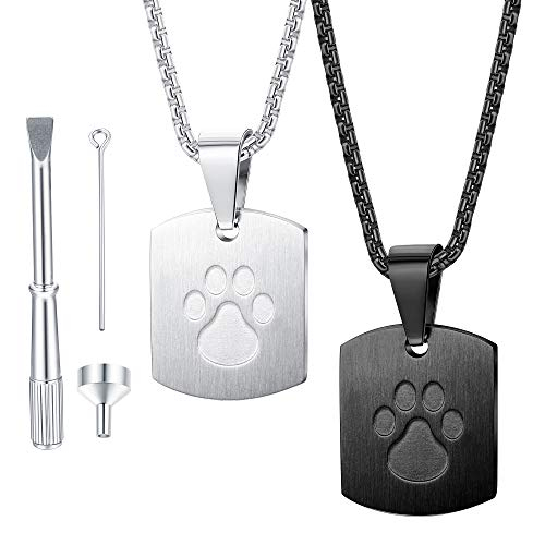 jstyle friend pendants Jstyle 2Pcs Urn Necklace for Ashes for Pet Paw Print Memorial Ash Pendant Necklace Cremation Jewelry for Dog's Ashes with Filling Kit
