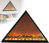 GuoYq Chimenea Electrica 800W, Llama de Carbón de Leña de Simulación de Chimenea Empotrada Triangular, Pared de Chimenea Eléctrica, Adecuado para Dormitorio Interior, Sala de Estar, Balcón