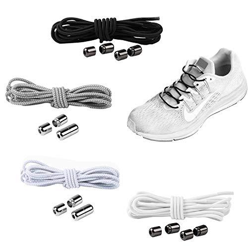 YAVO-EU Cordones elásticos Sin Nudo para Zapatillas (4 pairs 4 colores) para Maratón y Triatlón Atletas,Corredores,Niños, Ancianos Adultos