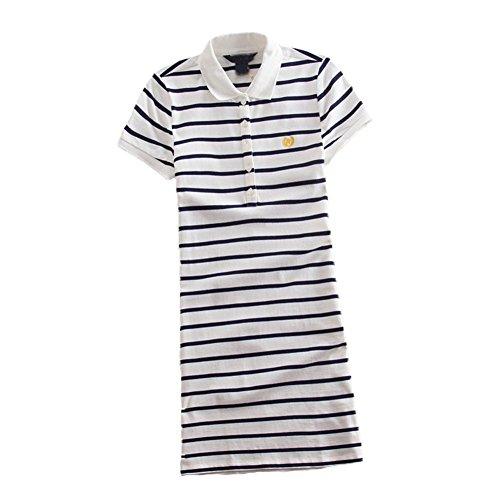 Teeuiear – Vestido feminino de verão, com estampa listrada e bordado, minissaia esportiva casual, Q896 White, Medium