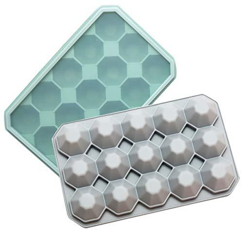 EACHPT 2 pezzi vaschette ghiaccio silicone vassoi per cubetti di ghiaccio senza BPA con coperchio15-cubi stampo per cubetti di ghiaccio diamante per congelatore whisky cocktail alimenti per bambini