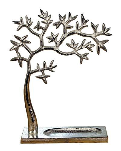 Schmuckbaum Schmuckständer Schmuckhalter Dekobaum Aluminium Silber in 2 Größen 31 cm oder 37,5 cm (Baum/Maße: 25x8,5x31 cm)