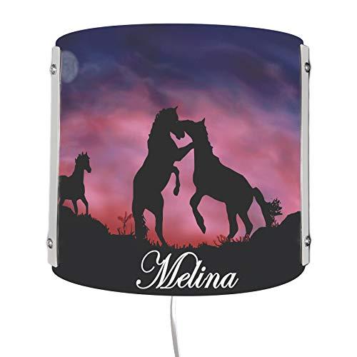 CreaDesign WA-1033 , Pferde, Kinderzimmer Wandlampe personalisiert mit Namen, Nachtlicht / Schlummerlicht für Steckdose, E14, 22 x 22,5 x 85 cm
