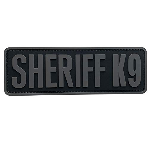uuKen Sheriff K9 Patch Grey Gray K-9 Tactical 6x2 inch PVC Patch for Service Dog in Training Working for Dog Harness Collar Vest (Black and Gray, M6'x2')
