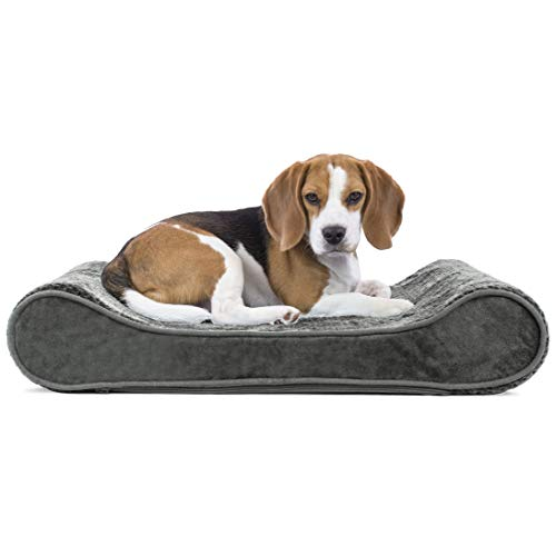 Furhaven Pet Dog Bed - Orthopedic Minky Plush and Velvet Luxe Lounger Contour Mattress Medium Dog Bed for Medium Dogs and Cats with Removable Cover, Gray, Medium