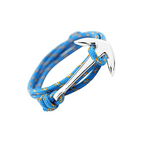 GLANZWEAR Wrap Bracelet with Ship Anchor in Silver Rope Silver Edition, Maritime Ankle Strap for Women and Men, Unisex Bracelet in Many Fashion and Trend Light Blue/Orange