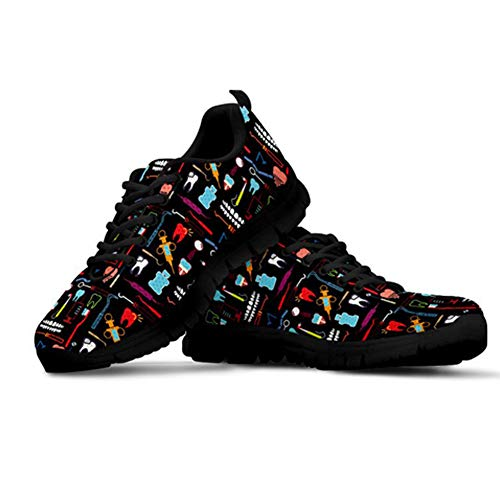 POLERO Nurse Zapatilla de Deporte Mujer Zapatillas Casual Zapatillas De Enfermera Zapatos para Correr con Cordones Zapato Plano para Caminar Zapatillas De Tenis De Malla, Negro, Talla 39