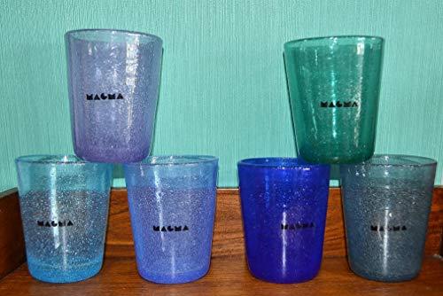 Magma Juego de 6 Vasos de Cristal de Colores 260 Pulgadas Colores del mar