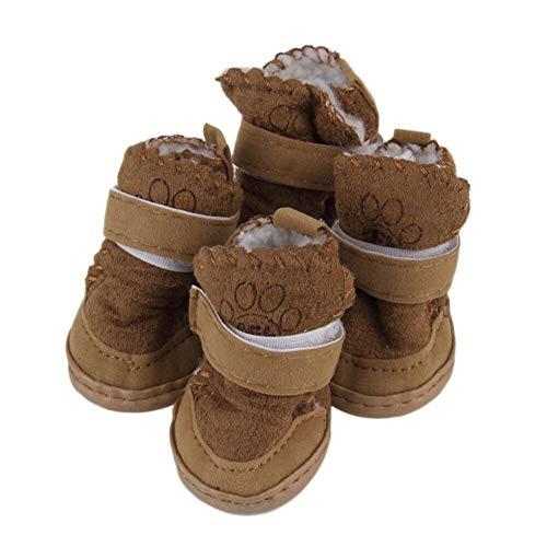 YWSZY Zapatos Perro 2 De Los Colores De Moda For Mascotas Perro Mascota Raquetas De Nieve Botas De Algodón del Perro De Perrito De Lino-DD Zapatos Botas For La Nieve (Color : Brown, Size : S)