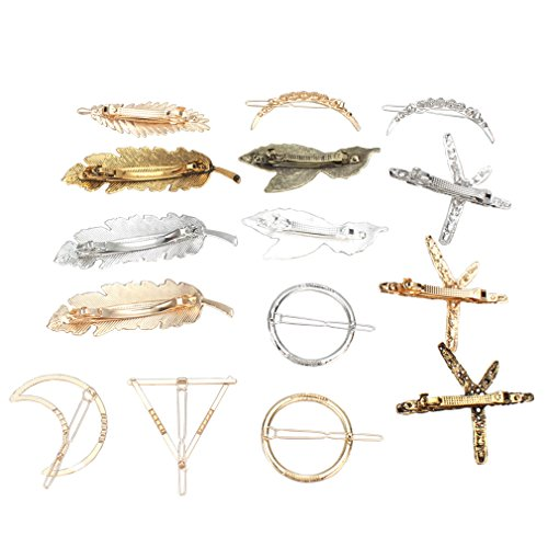 Jaciya 15 Pcs Hair Clips for Women - Minimalist Dainty Hair Clips for Women Hollow Geometric Alloy Hairpin Clamps Pearl hair clips,Starfish, Leaf, Circle, Triangle and Moon Gift for Thanksgiving