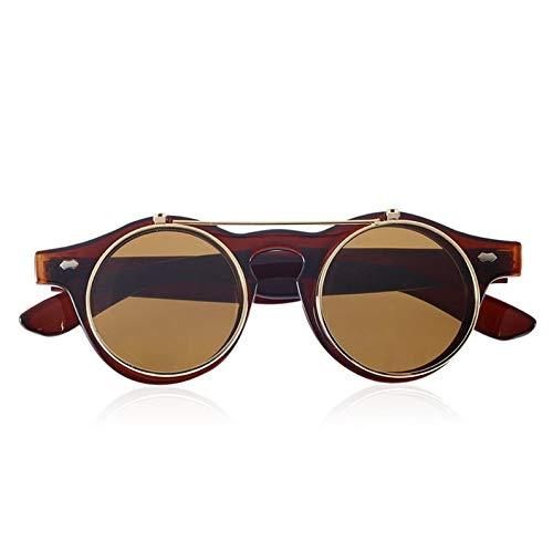 ukYukiko klassieke Steampunk goth bril bril ronde Flip Up zonnebril ronde bril