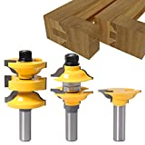 DBoyun 3pcs/Set Classical Extended Tenon Entry Door Rail and Stile Router Bit Set Woodworking Milling Cutter Door Frame Tenon and Knives Cutting with 1/2' Shank