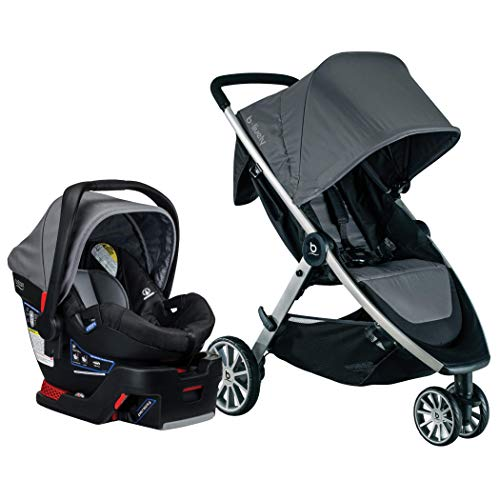 BRITAX B-Lively Travel System with B-Safe 35 Infant Car Seat | One Hand Fold, XL Storage, Ventilated Canopy, Easy to Maneuver, Dove (S05587900)