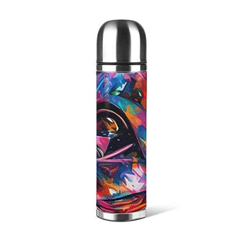 Darth Vader Star Wars Taza de vacío Taza de agua de acero inoxidable aislada Botella de agua con aislamiento al vacío Taza de viaje de café deportivo Taza termo Cubierta de cuero Capacidad 17OZ 500ML