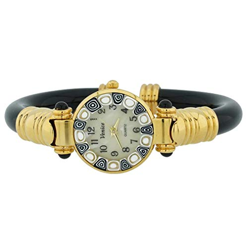GlassOfVenice Reloj de pulsera Millefiori de cristal de Murano, color negro