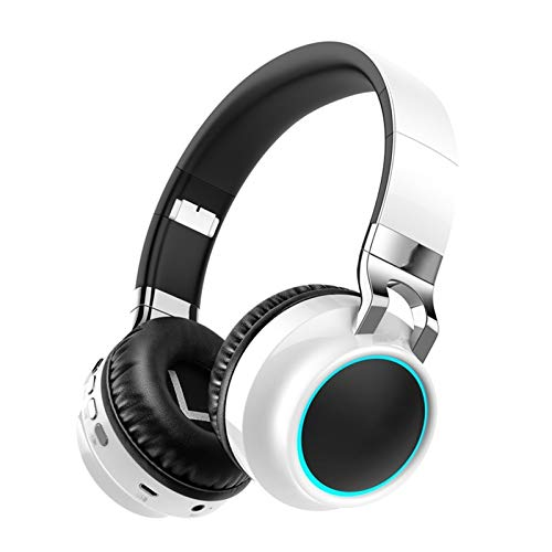 ZHANGXIAOYU Wireless Headphones Bluetooth Headphone Support 7 Colors Glowing 24 Hours Working Time MP3 Player With MIC For Phone PC (Color : Silver)