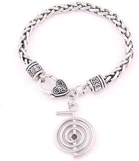 Davitu Cho Ku Rei Reiki Pendant Healer's Jewelry Power Symbol of The Reiki System Cho Ku Ray, a Symbol Used in Reiki Healing - (Metal Color: Wheat Link Bracelet, Main Stone Color: Whit AB)