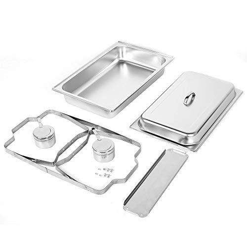 Plato de frotamiento, 9L Plato de frotamiento rectangular de acero inoxidable con horno de alcohol para buffet para catering