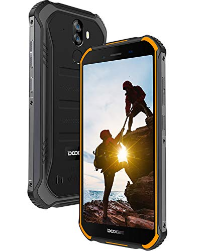DOOGEE S40 LITE Outdoor Handy Ohne Vertrag, Android 9.0 IP68 Robustes Smartphone, Stoßfest Wasserdicht, 4650mAh-Akku, 5,5 Zoll Gorilla Glass 4, 2GB + 16GB, 3G Dual SIM, 8MP+5MP Dual Kamera, Orange