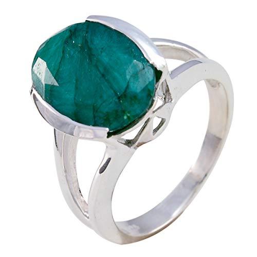 joyas plata echte edelsteine ovale form ein stein facettierter grüner jaspis ring - 925 sterling silber grüner jaspis ring - August geburt leo astrologie echte edelsteine ring