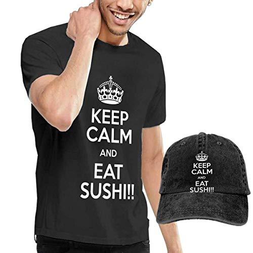 Baostic Herren Kurzarmshirt Keep Calm and EAT Sushi!! Fashion Men's T-Shirt and Hats Youth & Adult T-Shirts