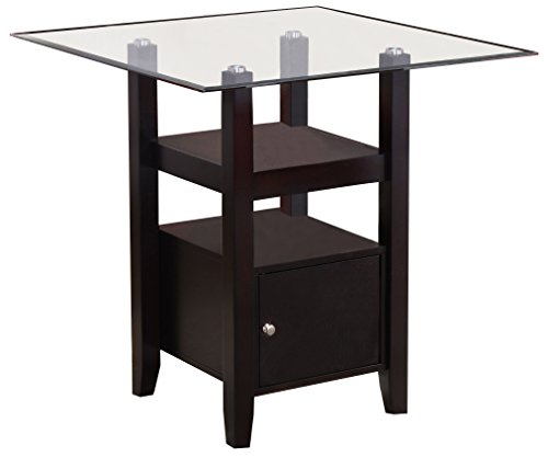 Kings Brand Furniture - Cappuccino Finish/Glass Top Counter Height Dining Table with Storage
