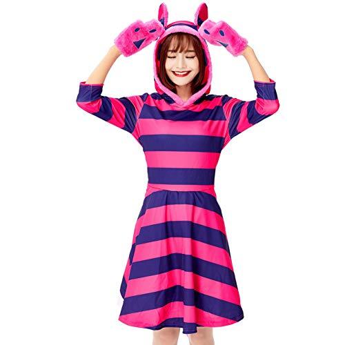 GBYAY Vestido de Traje de Halloween para Mujer Conjunto de Cosplay de Gato de Rayas moradas Lindo Traje de Personaje de Cuento de Hadas Vestido de Cosplay