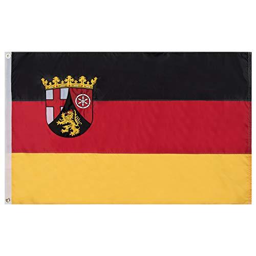 Lixure Rheinland-Pfalz Flagge/Fahne Premium Qualität für Windige Tage 90x150cm Stickerei-Flagge Durable 210D Nylon Draußen/Drinnen Dekoration Flagge - Nicht billiger Polyester MEHRWEG